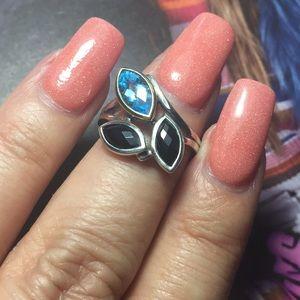 18K YG & 925 SS Black Onyx & Blue Topaz Gemstones